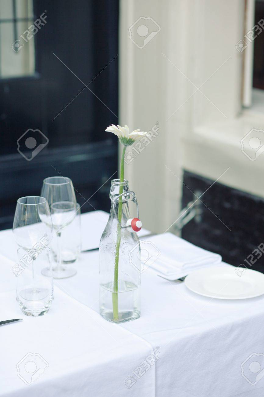 Table Setting In French Elegant Table Setting In French Style Outdoor Stock Photo Picture