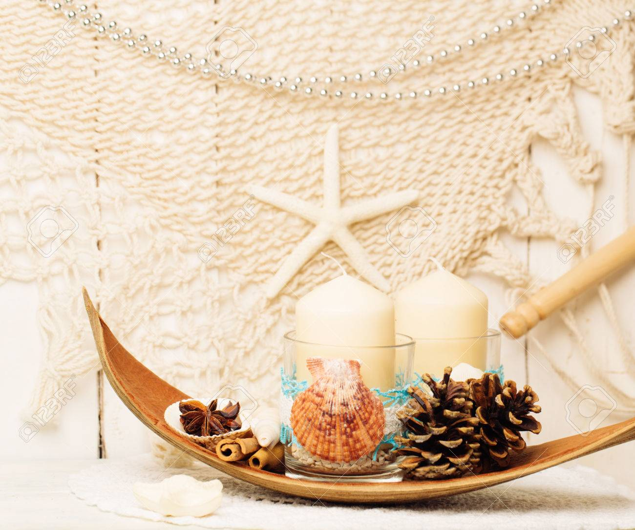 Pine Cone Candles Decoration For Christmas In Marine Style Handmade Candles With