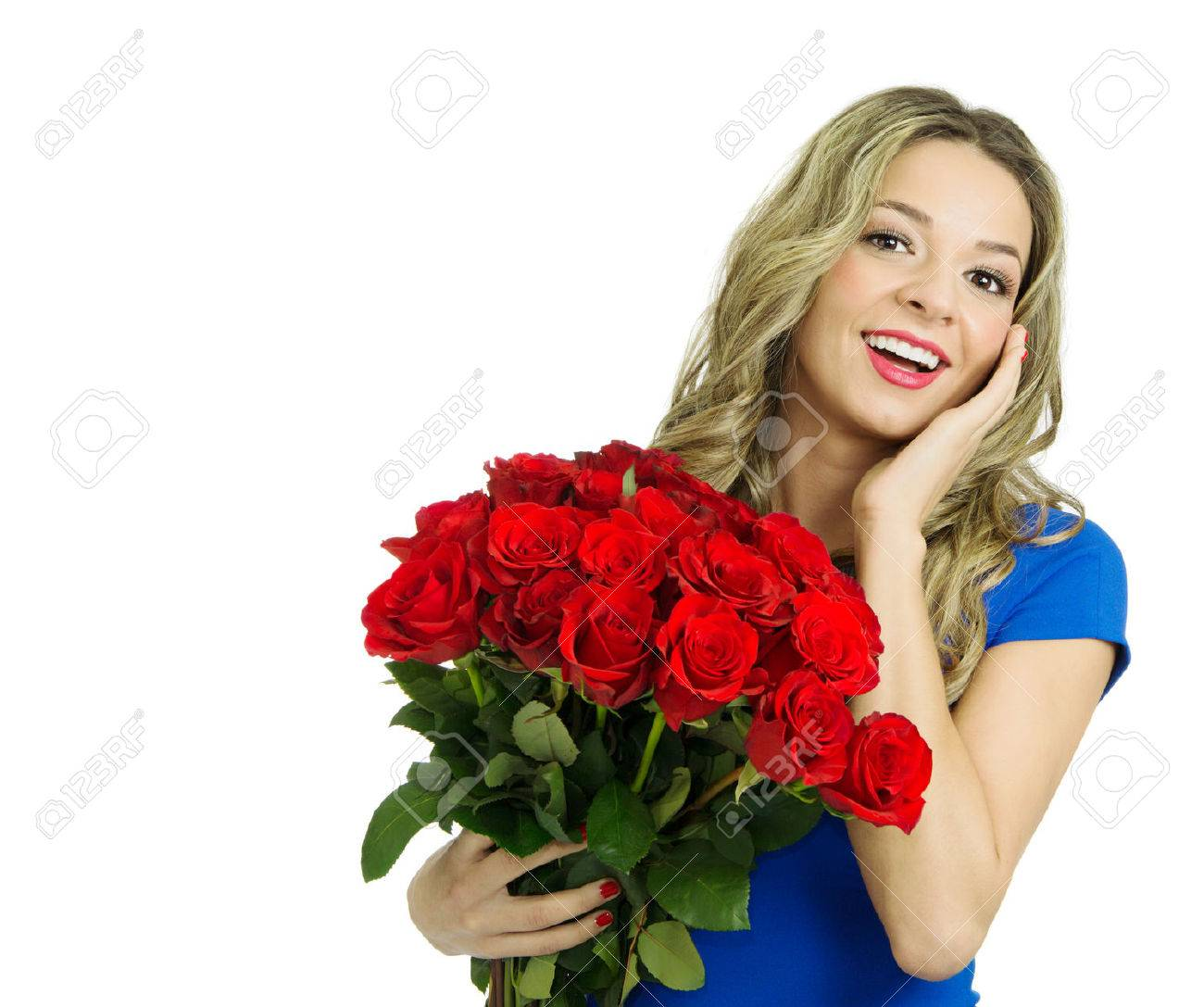 Beautiful blond with roses picture 625