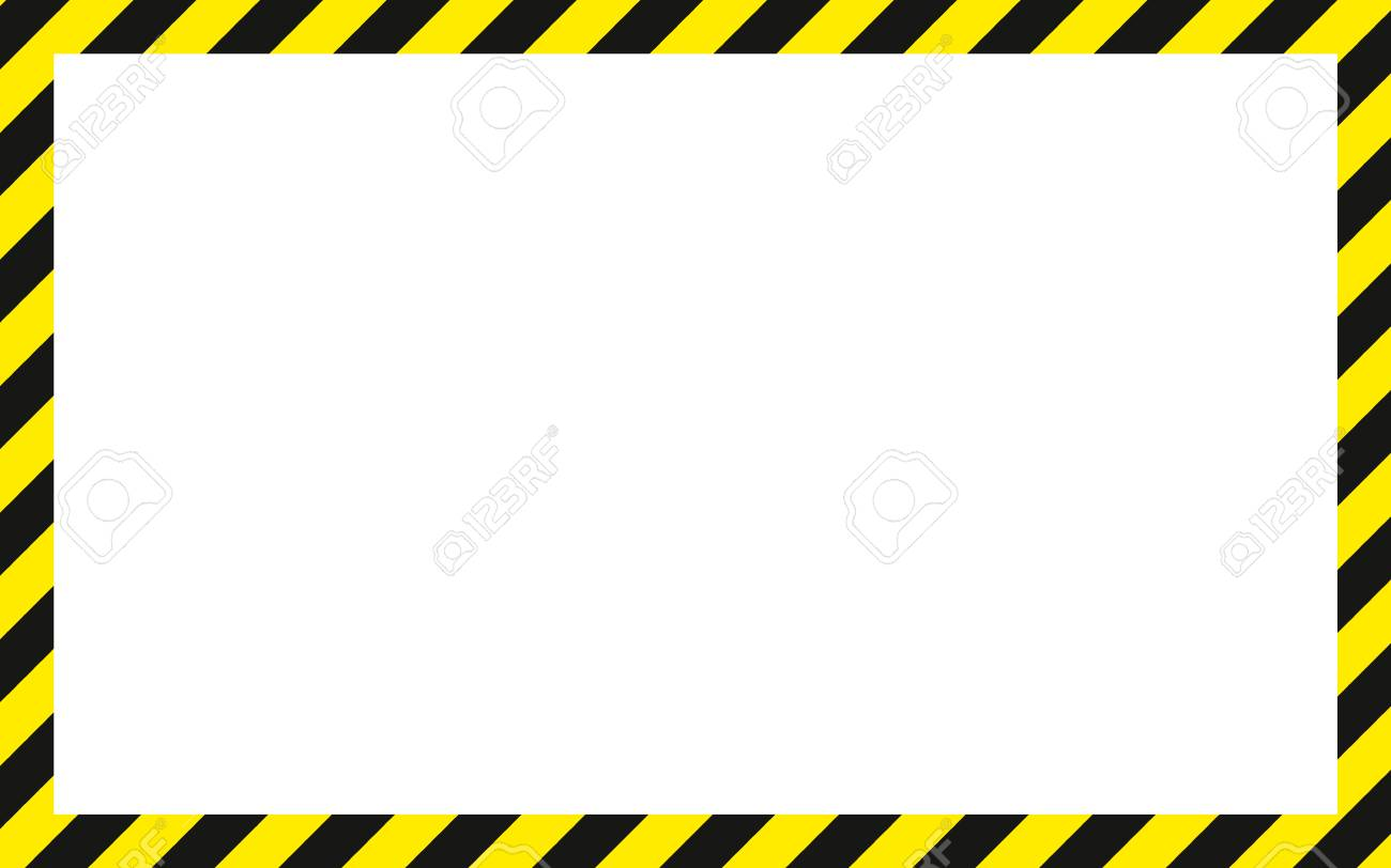 warning striped rectangular background, yellow and black stripes on the diagonal, warning to be careful potential danger vector template sign border yellow and black color Construction warning border. - 88554483