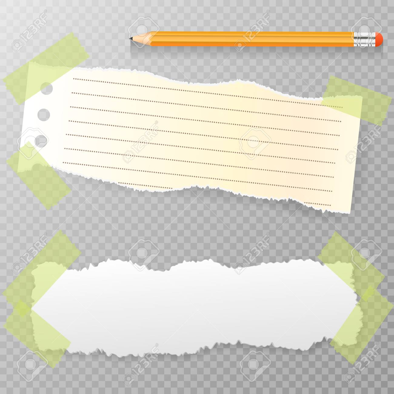 torn horizontal, note, notebook, copybook paper strips, sheets