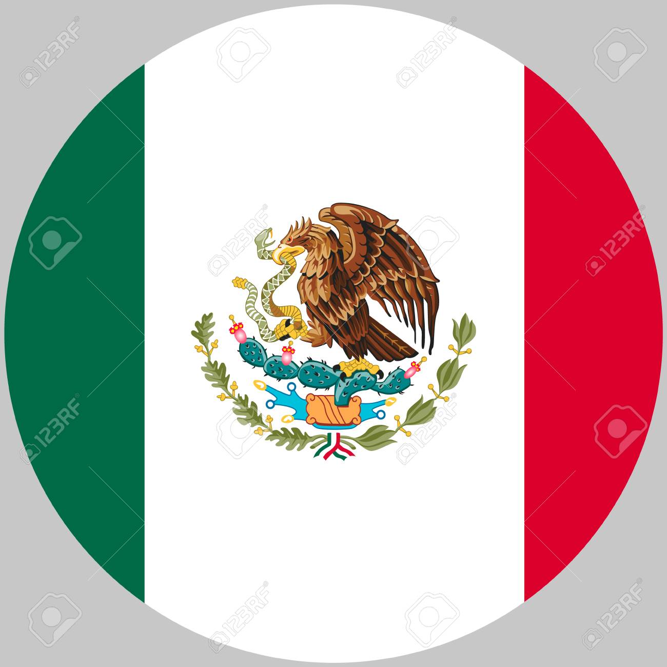 Round Mexico Flag Vector Icon Isolated On White Background United