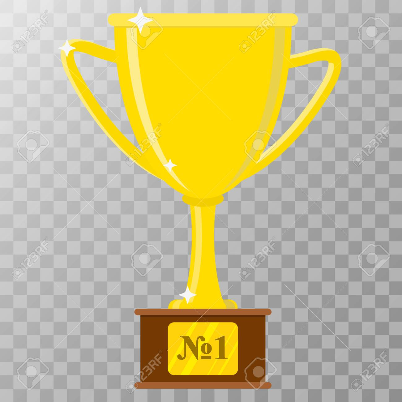Golden Trophy Cup Vector Icon On Transparent Background Stock
