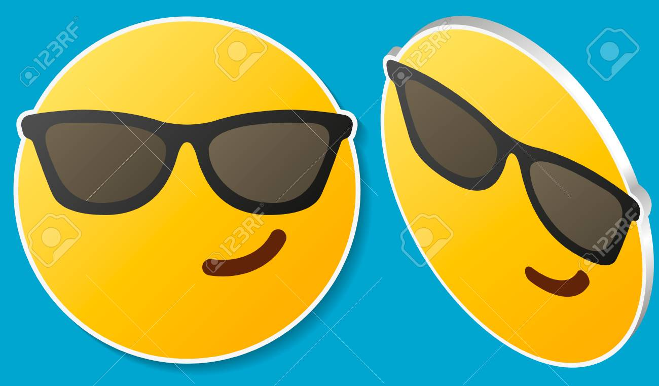 b8d1c054dac Smiling face with sunglasses emoji - emoticon with smiling face wearing dark  sunglasses that is used