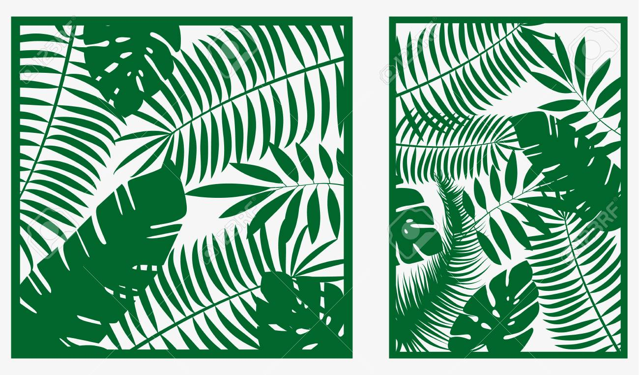 Decorative Card For Cutting Palm Leaf Pattern Laser Cut Vector