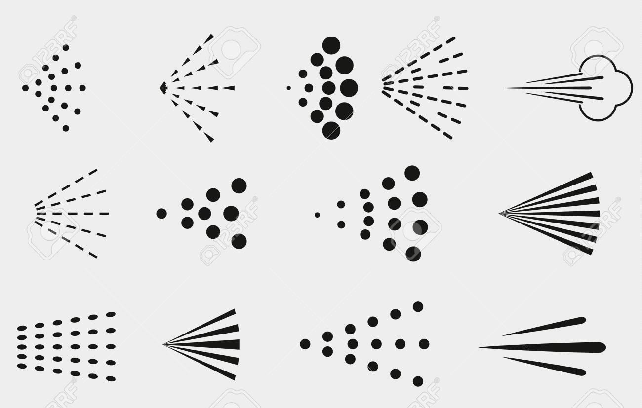 Spray icons set. Simple black fluid spray cloud symbols - 119616288