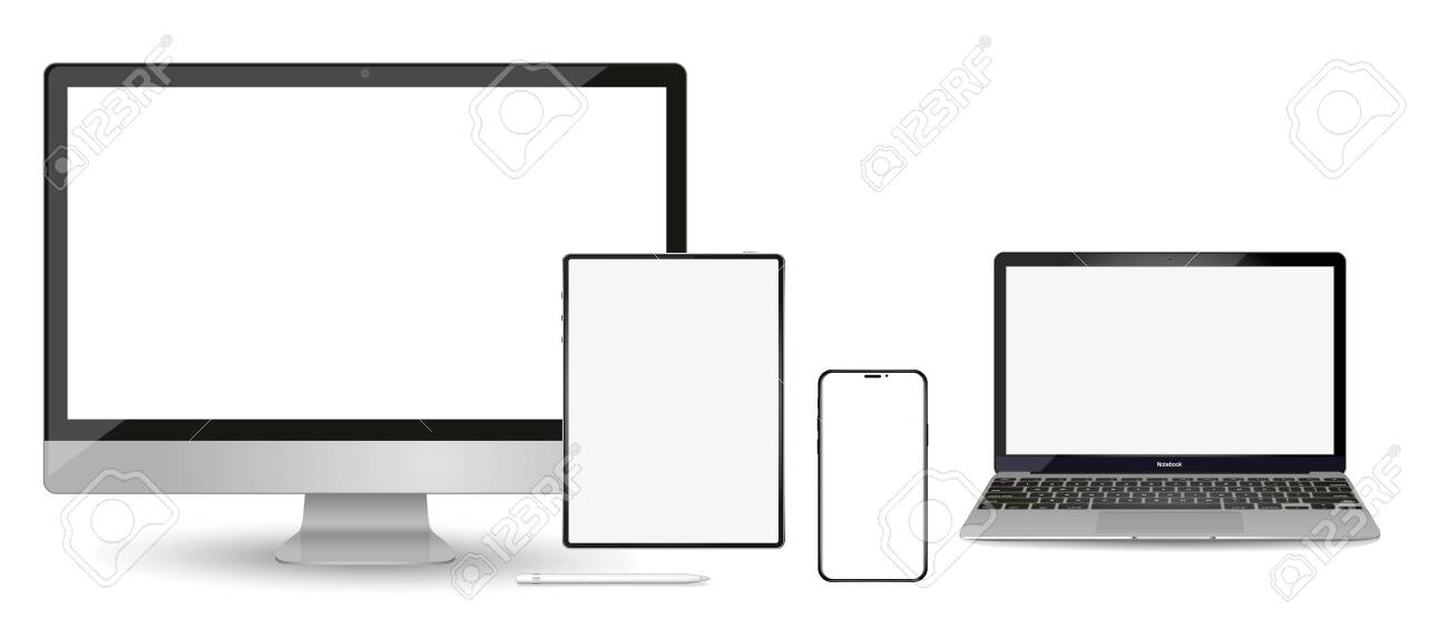 Set of modern devices mockups with blank frameless screens: monitor, laptop, tablet computer phone. Vector illustration - 123640493