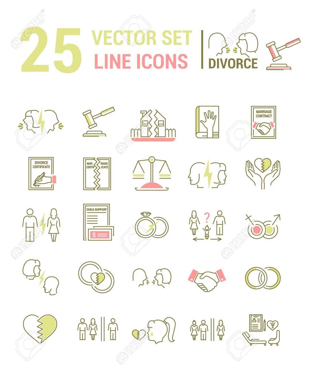 Vector Reihe Von Icons In Einem Linearen Design Zum Thema Scheidung ...