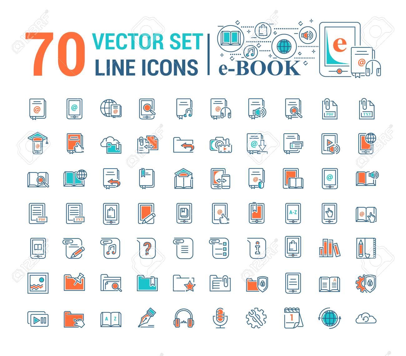 Vector graphic set.Logo, icon. E-book, pocket book. Linear, flat, contour, thin design. App, Template, infographic. Symbol, element, emblem, smart technologies. Modern gadget online library education. - 126340136