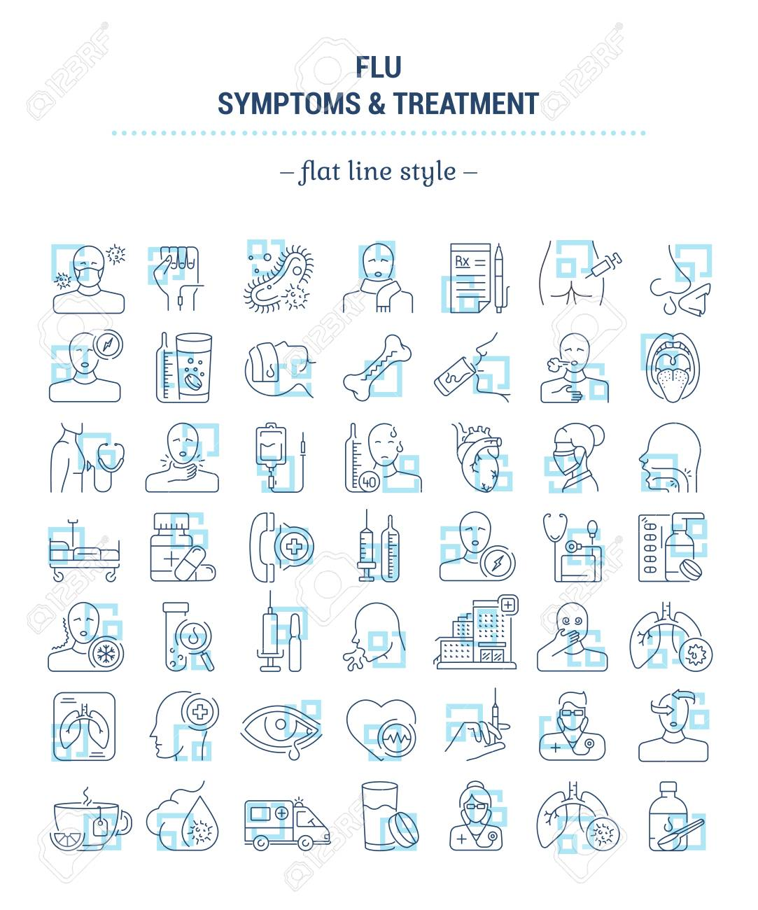 Vector graphic set. Icons in flat, contour, outline thin and linear design. Flu. Symptom, treatment, prevention. Simple isolated icons. Concept illustration for Web site. Sign, symbol, element. - 126340165