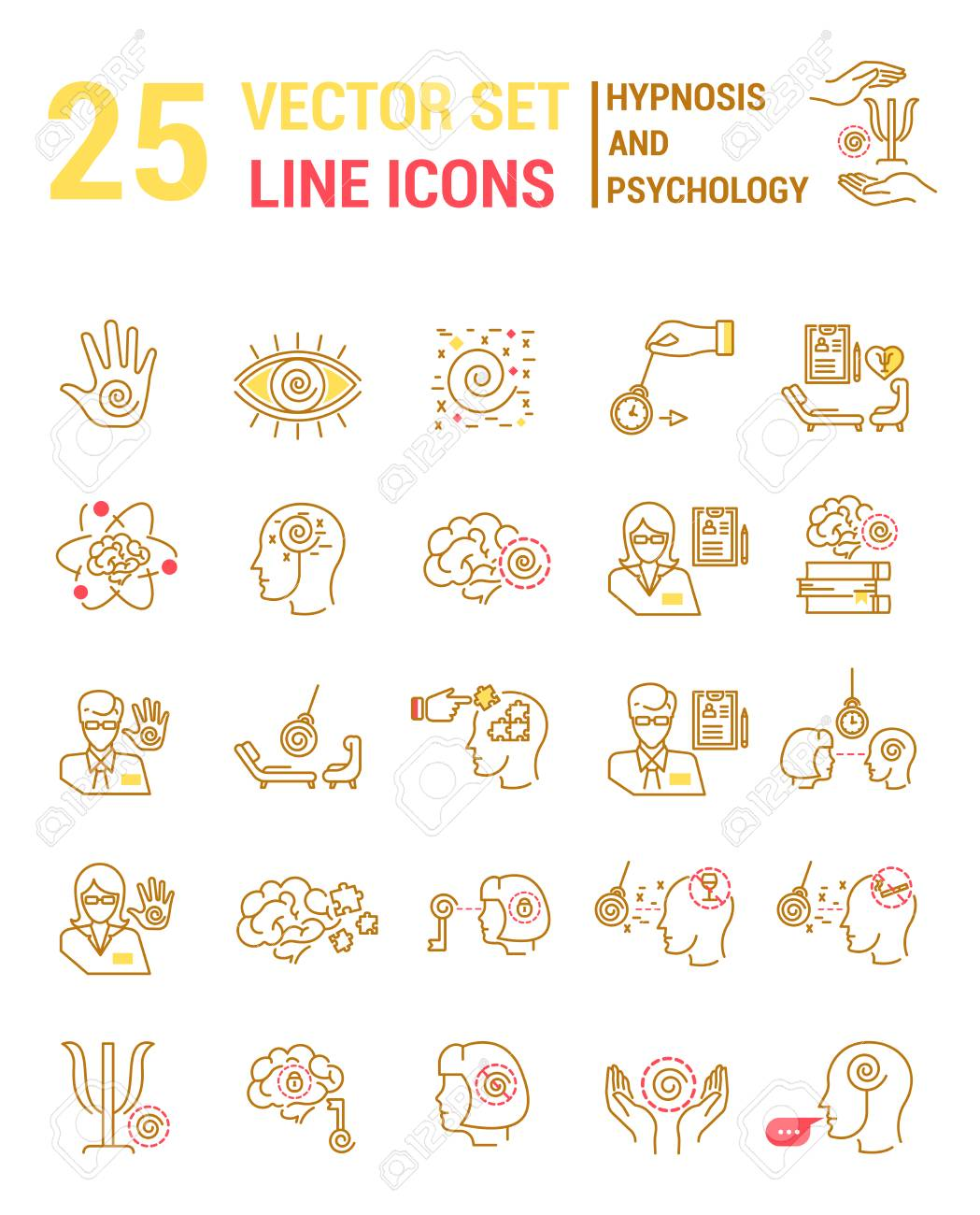 Set vector line icons in flat design with hypnosis and psychology