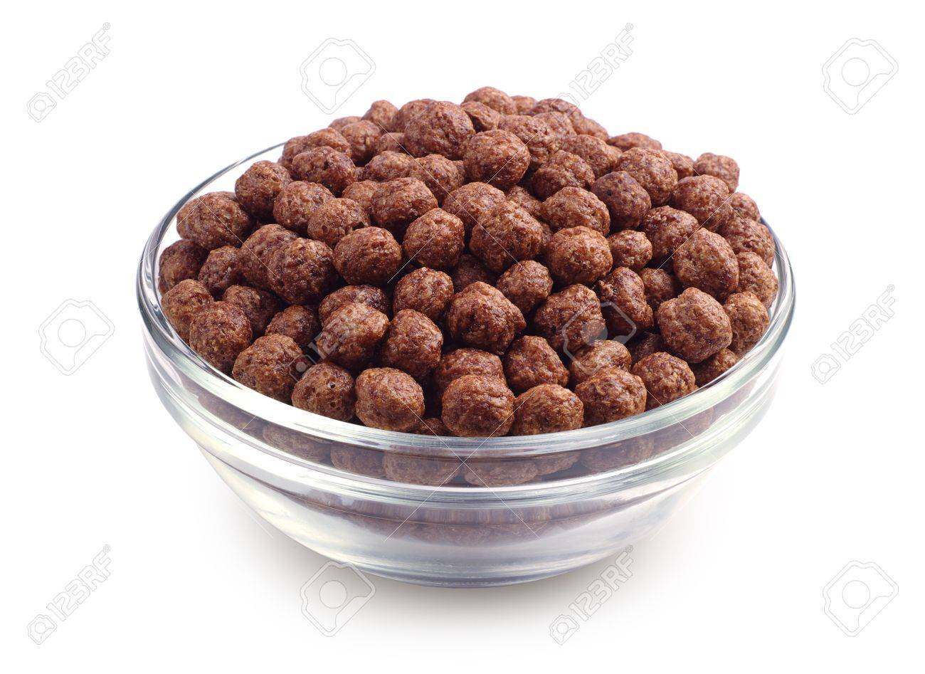 Chocolate Cereal In Glass Bowl On White Background Stock Photo ...
