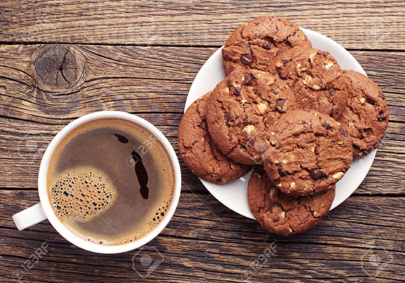 Cookie Coffee Cups Plate With Chocolate Cookies And Cup Of Hot Coffee On Old Wooden