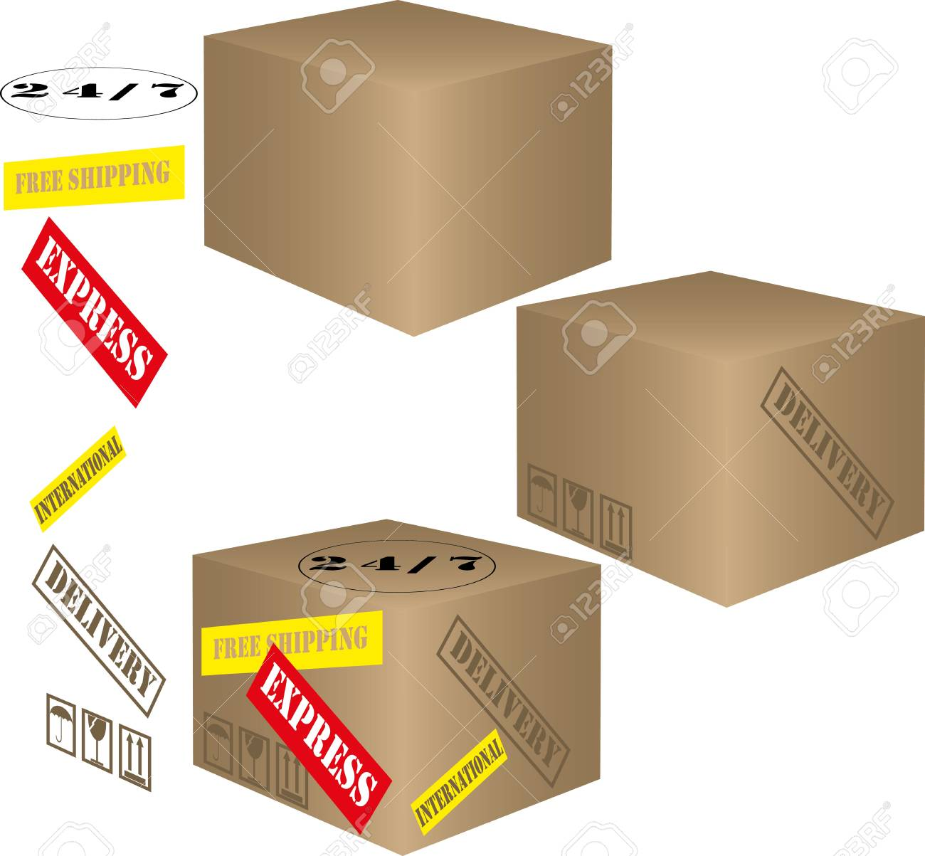 Cardboard boxes with shipping labels