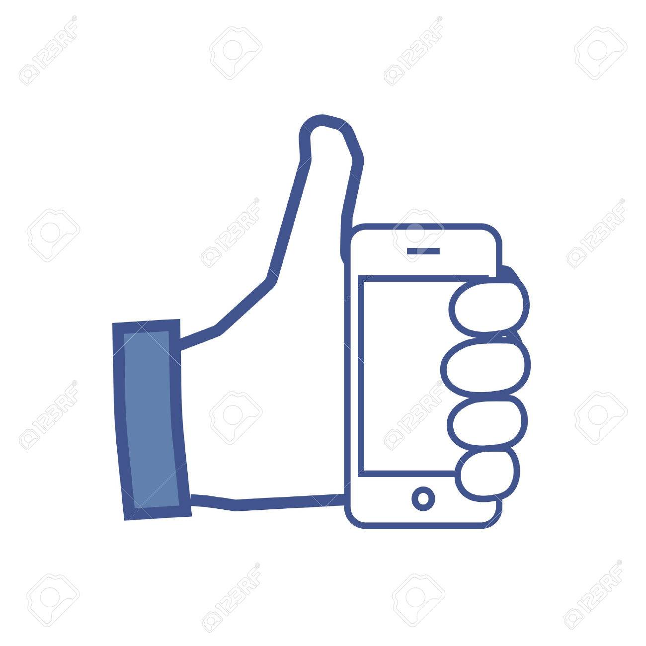 Facebook like flat icon with cell phone - 39809644