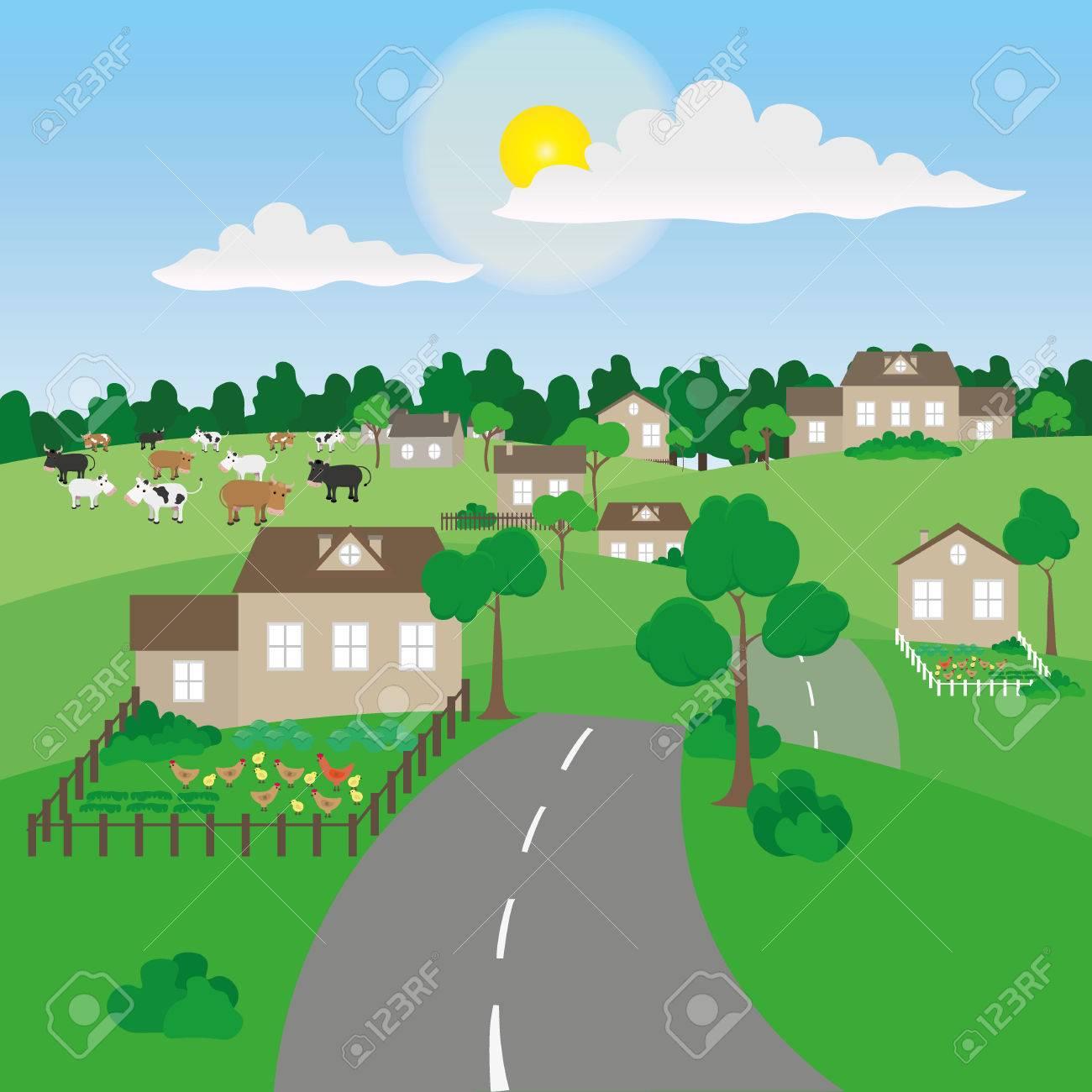 Summer village landscape - 41547905