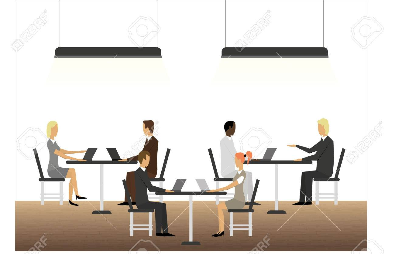 Business meeting with tables and laptops - 41547934