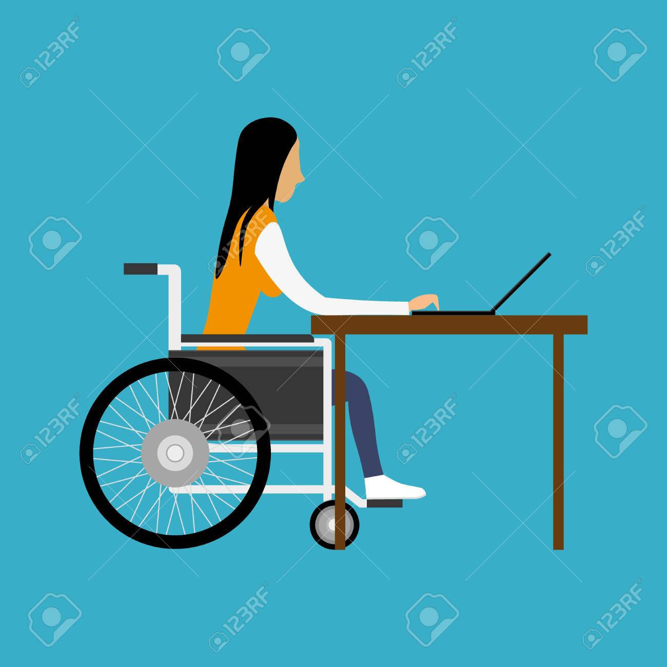 Handicapped woman working with laptop - 43083551