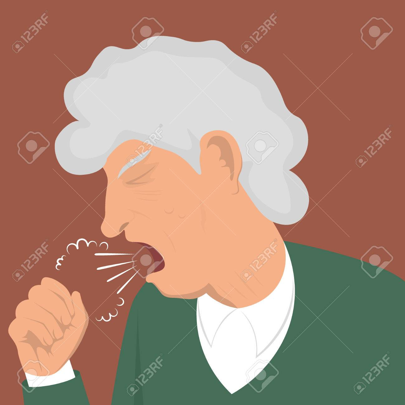 Illustration coughing granny - 46452372