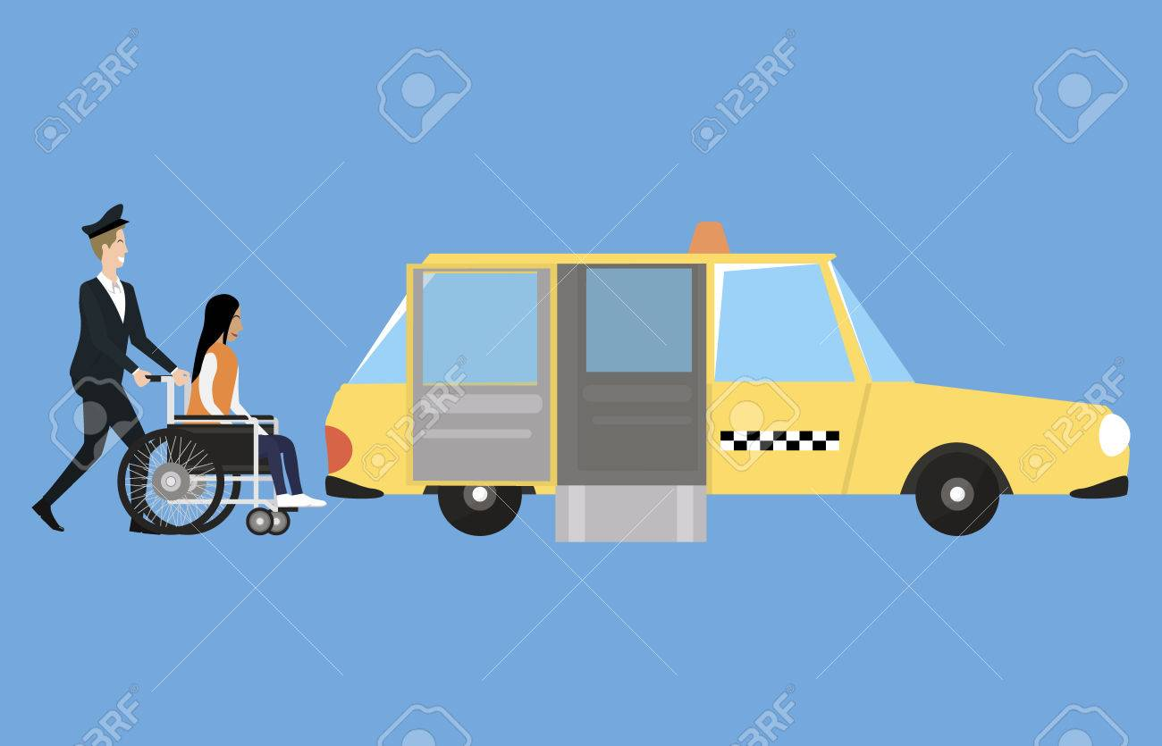 Wheelchair accessible transport with taxi, driver and disabled person - 50244097