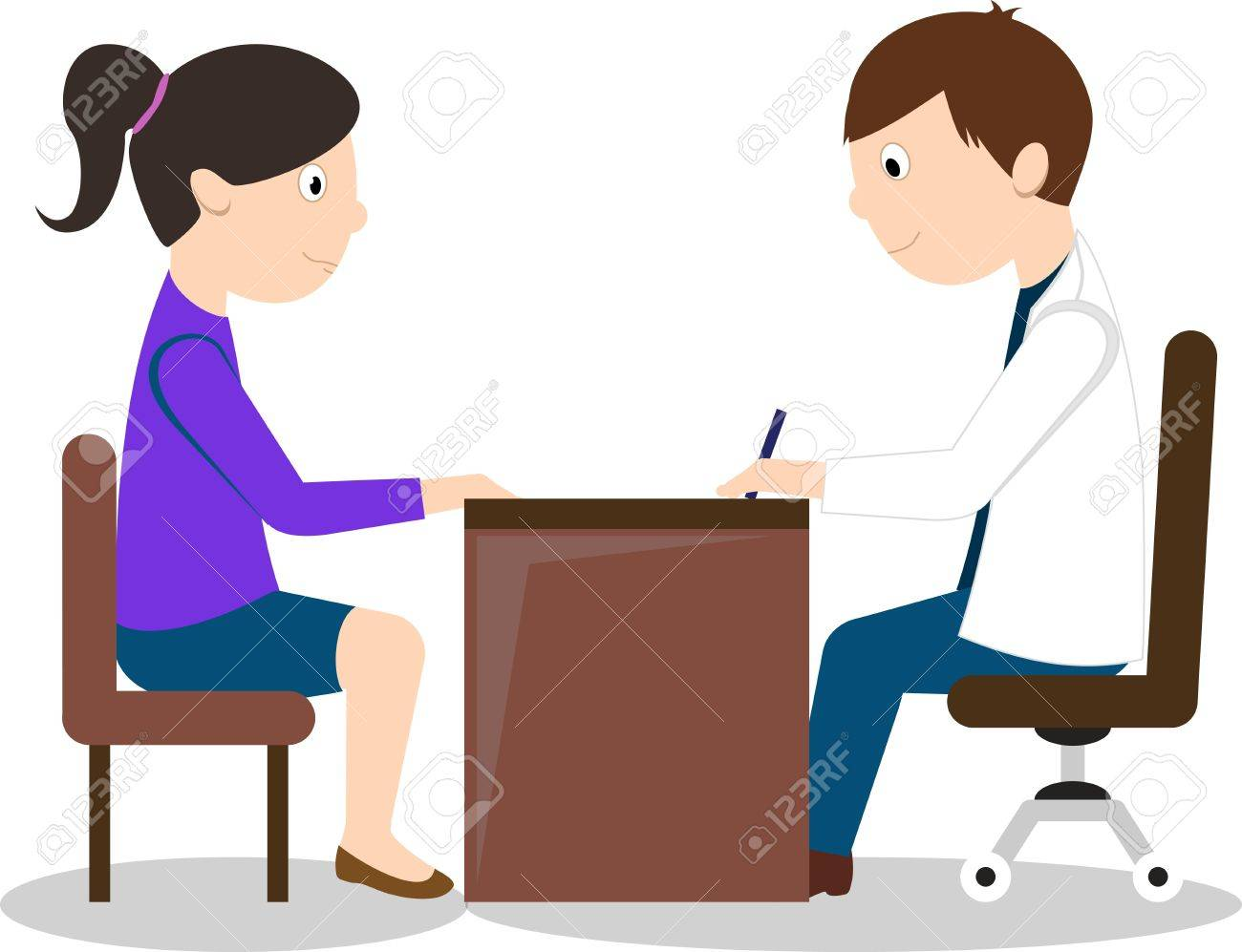 Doctor and female patient sitting at the table. Isolated On White Background - 53143303