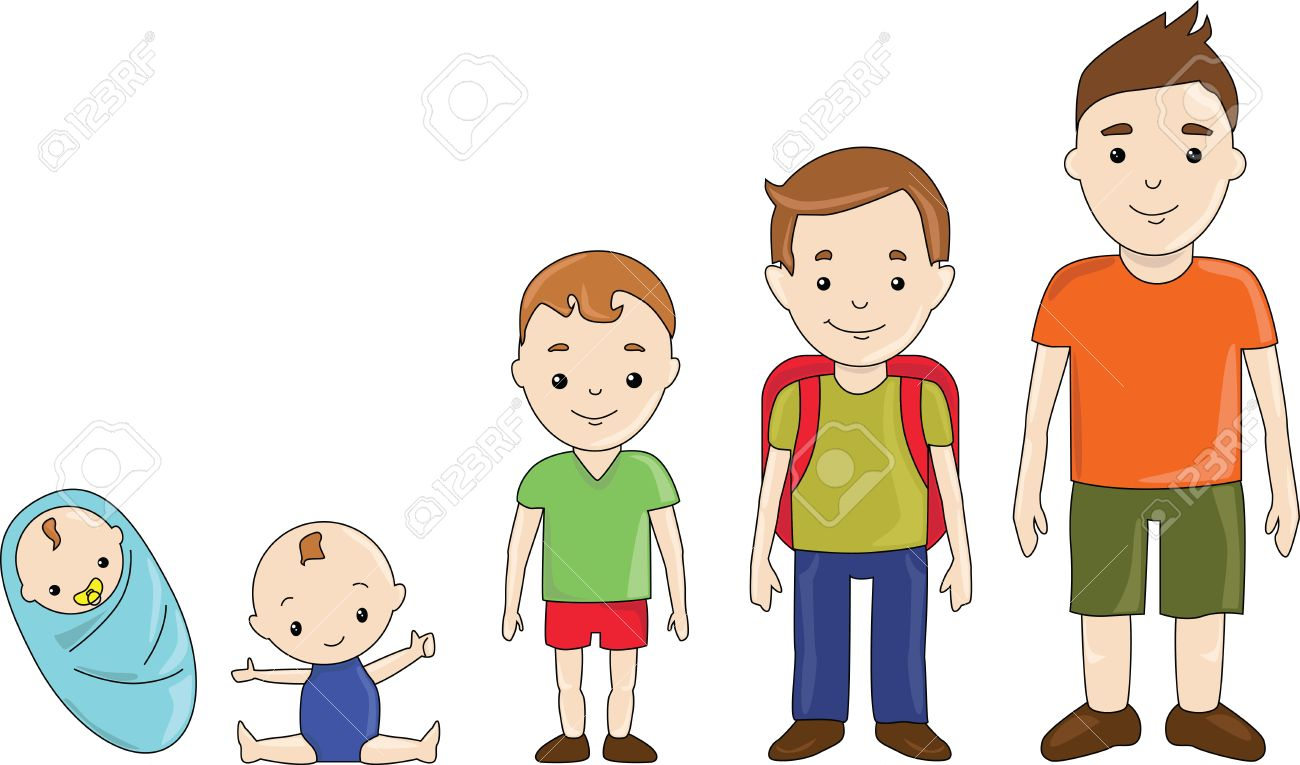 Boy generations at different ages: infancy, childhood, teen, adolescence. - 54187043