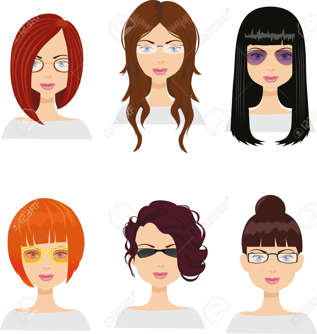 Girl Avatars With Different Haircuts And Glasses Royalty Free