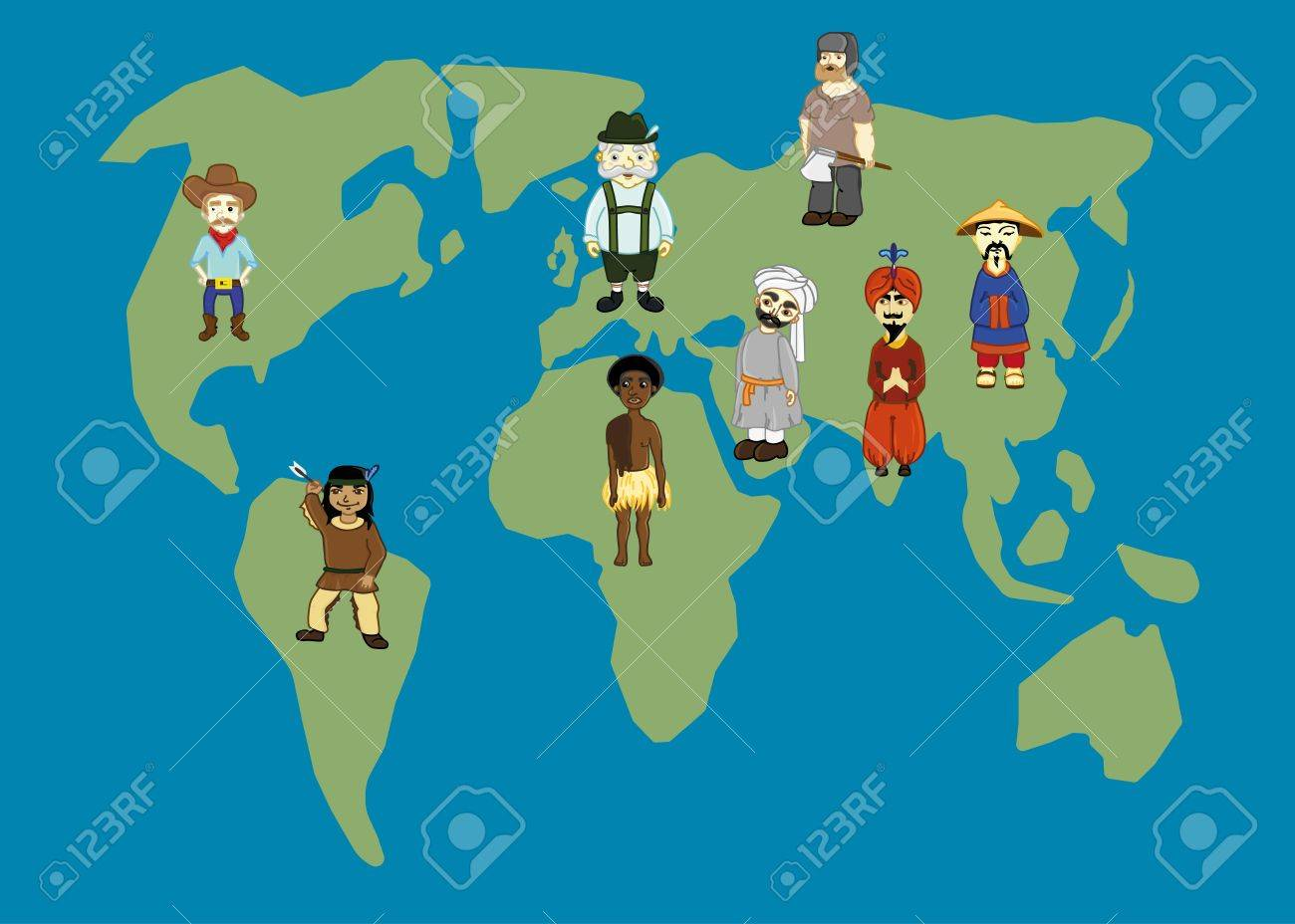 World Map And People In Traditional Costumes World Nations - World map nations
