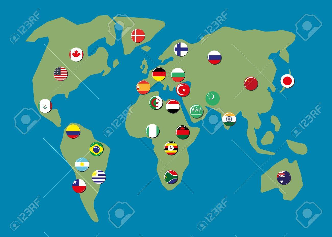 Map World With Biggest Country Flag Badges Royalty Free Cliparts - What is the biggest country