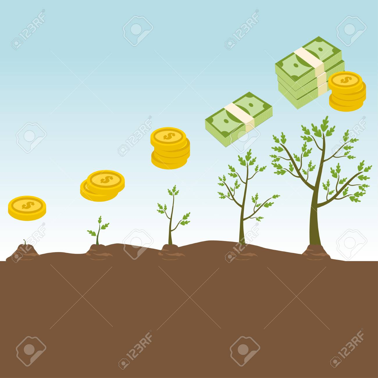 Tree growth concept with increasing money - 60719112