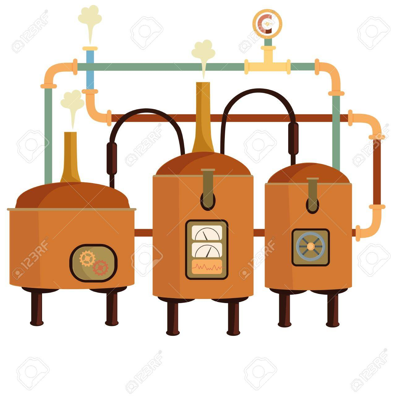 Brewery machine. Tanks with beer. - 61901453
