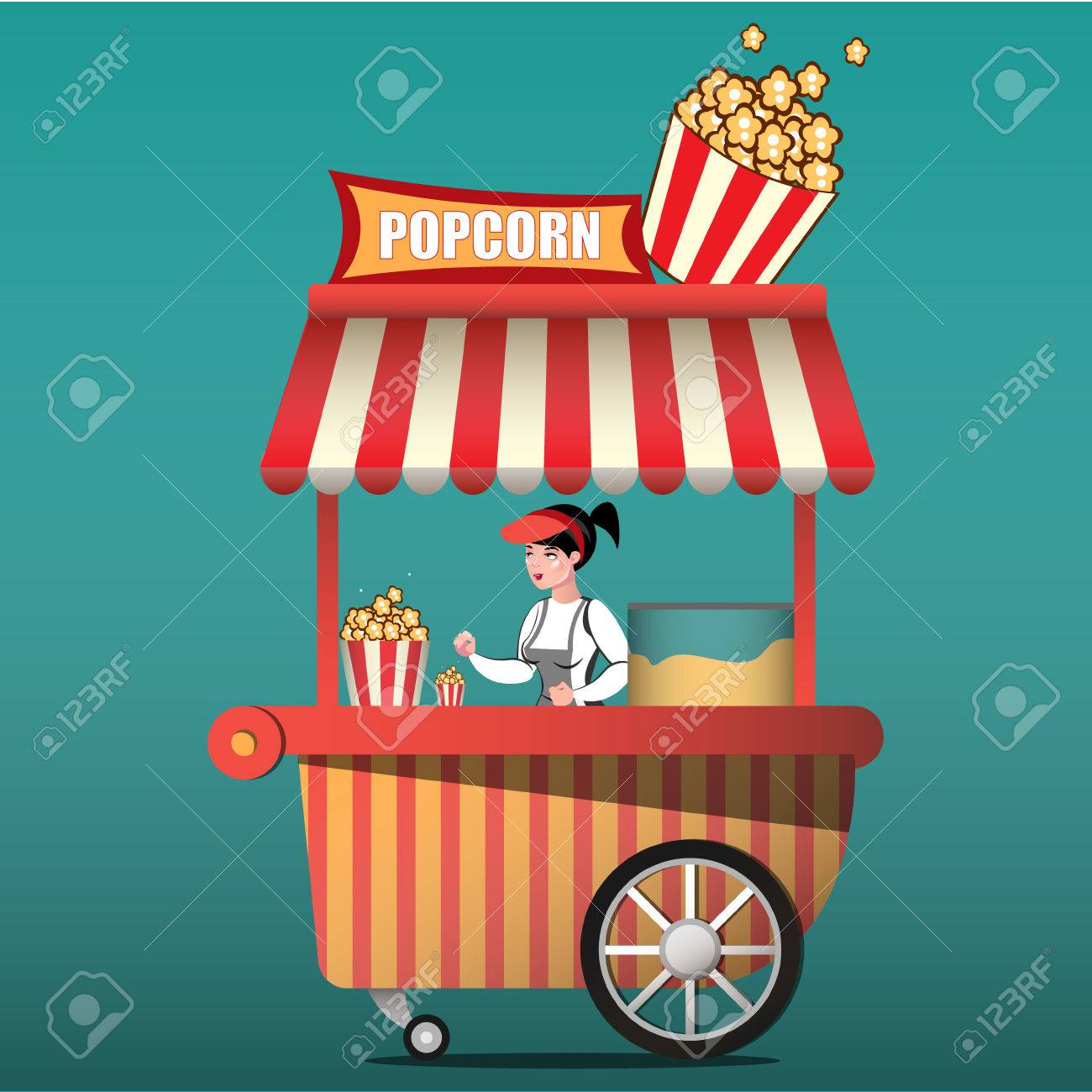 Popcorn cart carnival store and fun festival popcorn cart. - 74005345