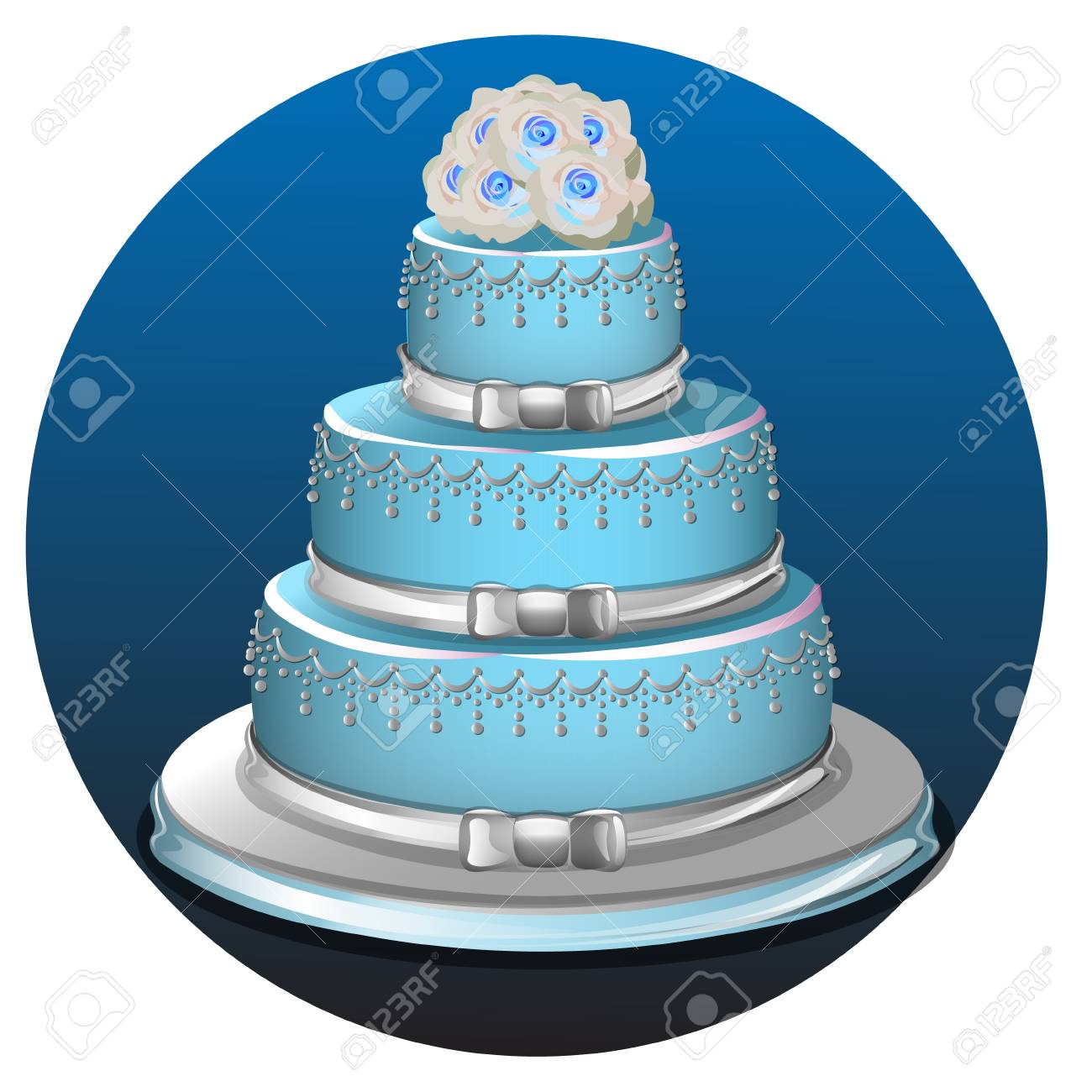 Realistic Three Tier Light Blue Wedding Cake And Decoration On