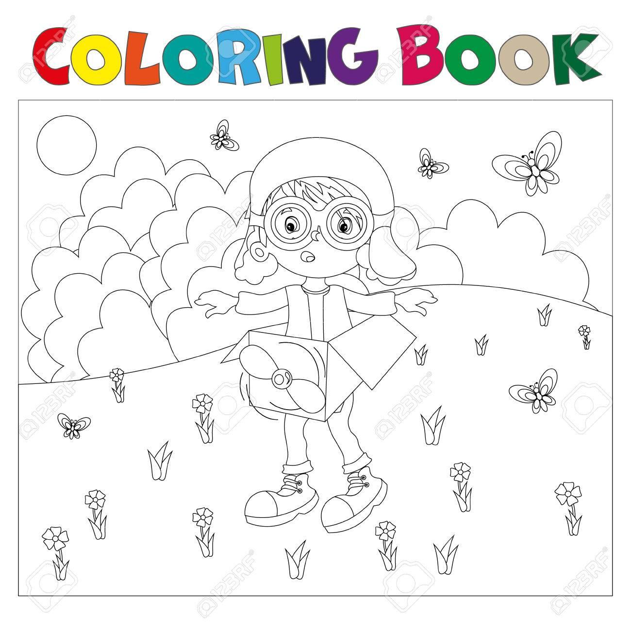 Blanco Y Negro De Libros Para Colorear El Niño Juega En El Piloto ...