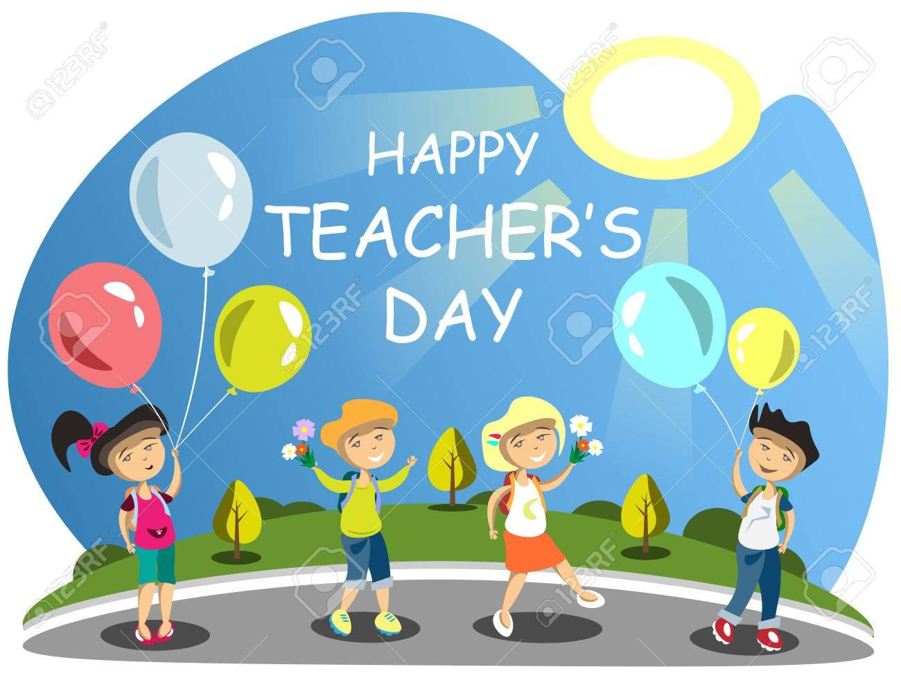 Teacher s Day Group of children giving flowers Balloons - 76355534