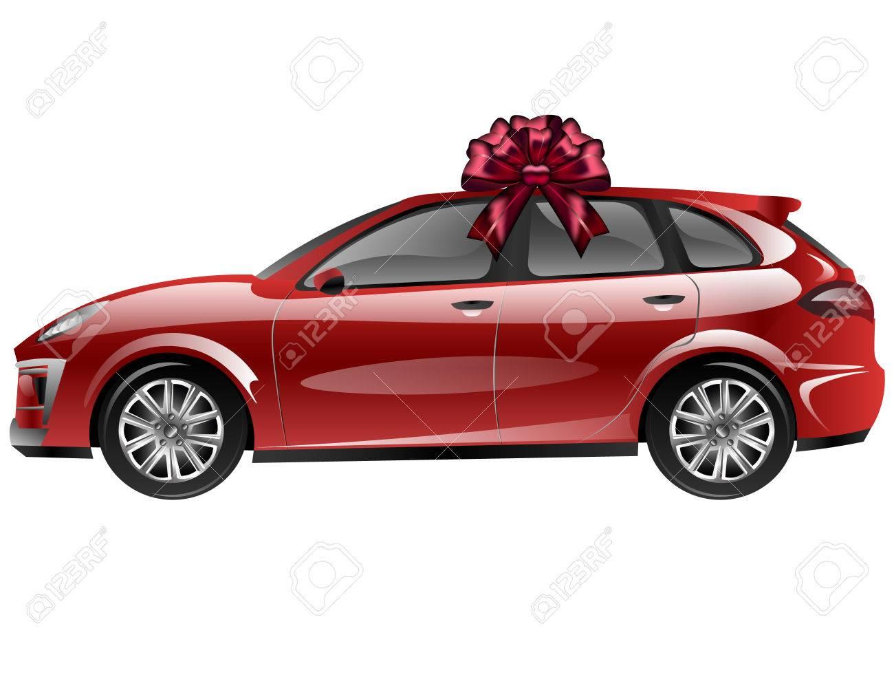Automobile Rouge Avec Arceau à Ruban Voiture En Cadeau
