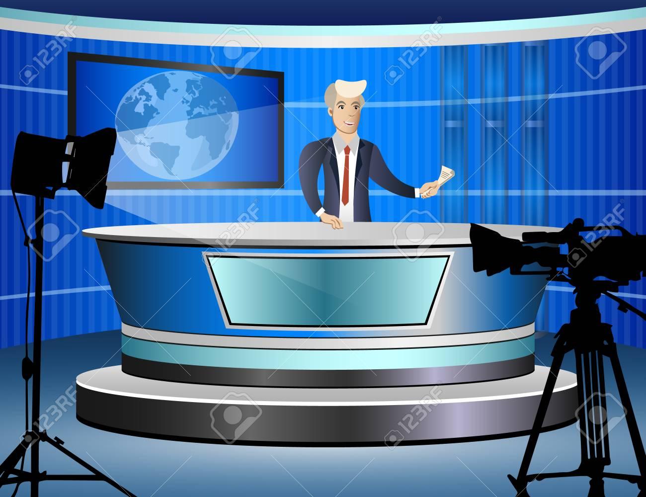 Journalist at work from tv studio - 81180308