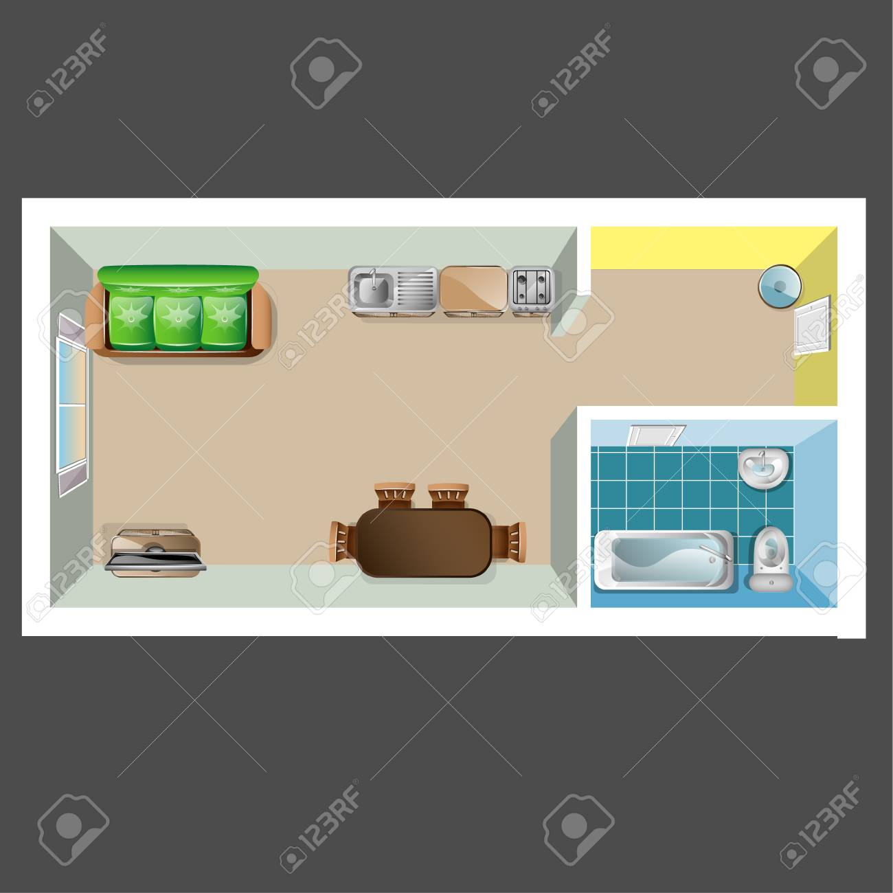 House Or Floor Plan Design Top View. Vector Illustration Royalty ...