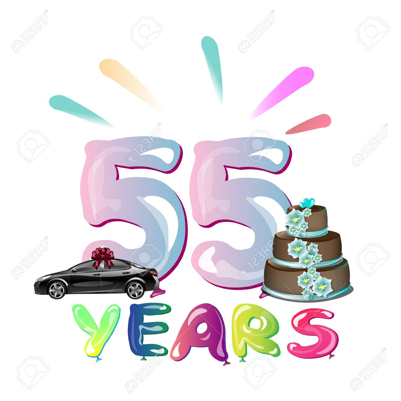Happy Birthday Fifty Five 55 Year Royalty Free Cliparts, Vectors ... 95f292fa3c
