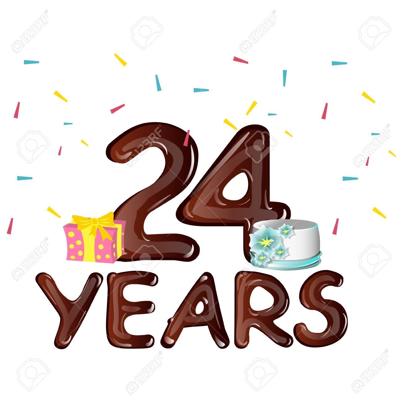 happy 24th birthday greeting card royalty free cliparts vectors