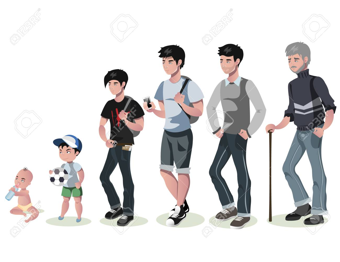 Cycle of life for men. From baby to senior. - 85641651