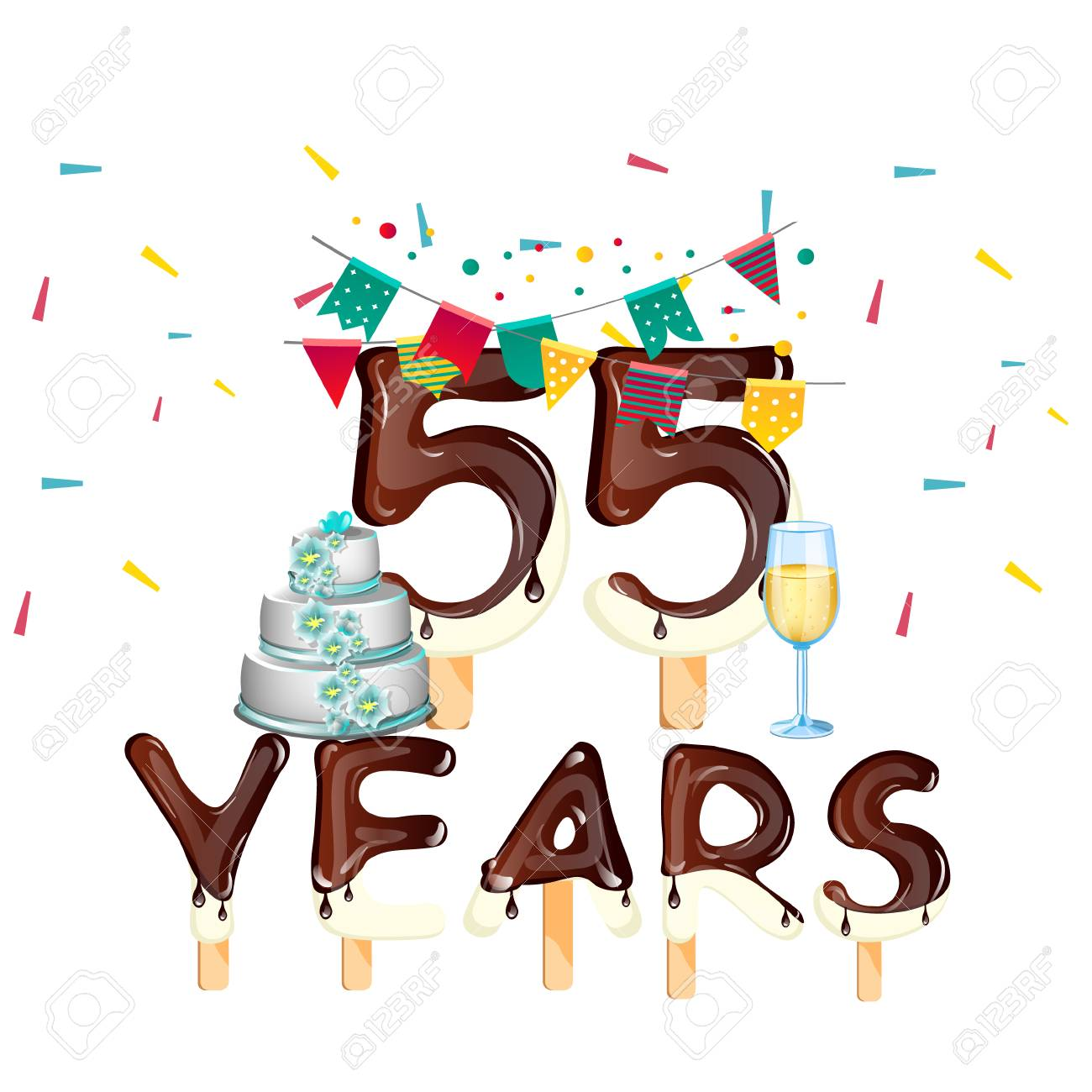 55 Years Happy Birthday Card Stock Vector