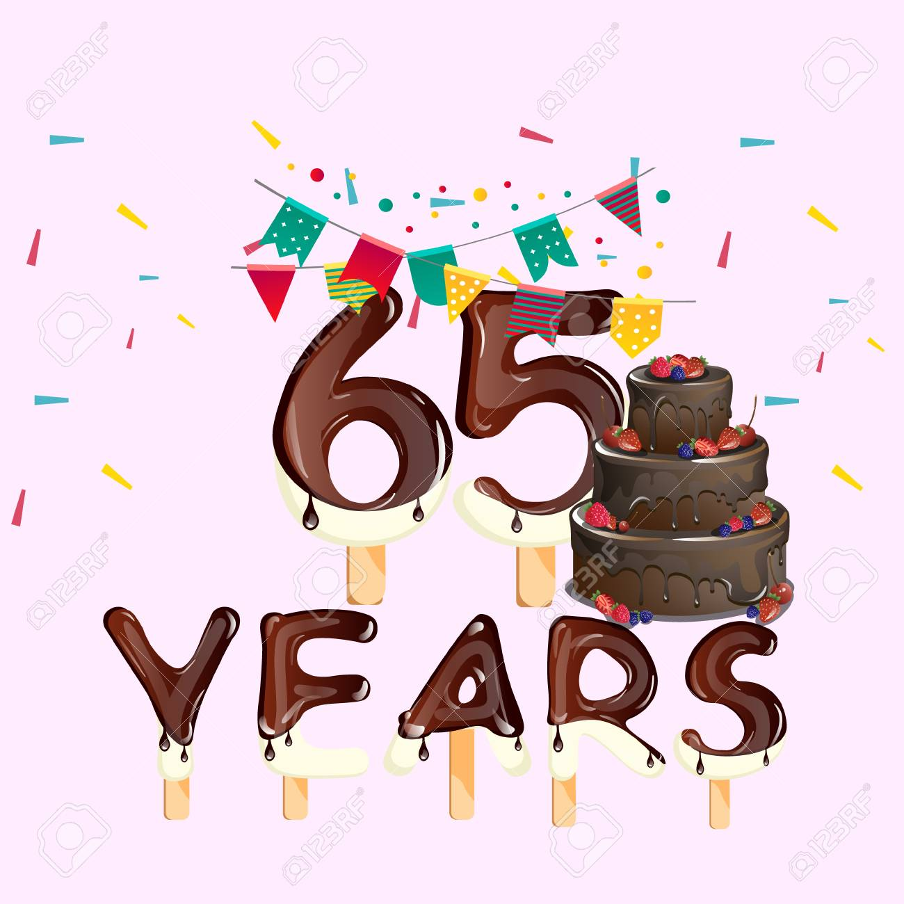 65 Years Happy Birthday Card Stock Vector