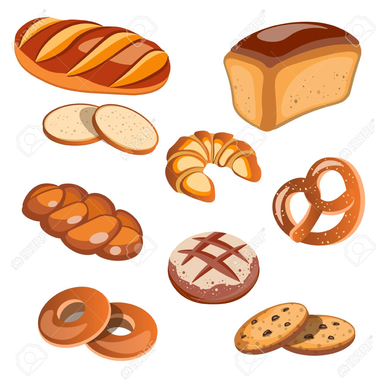 Set of bread products isolated. Vector illustration - 88259915