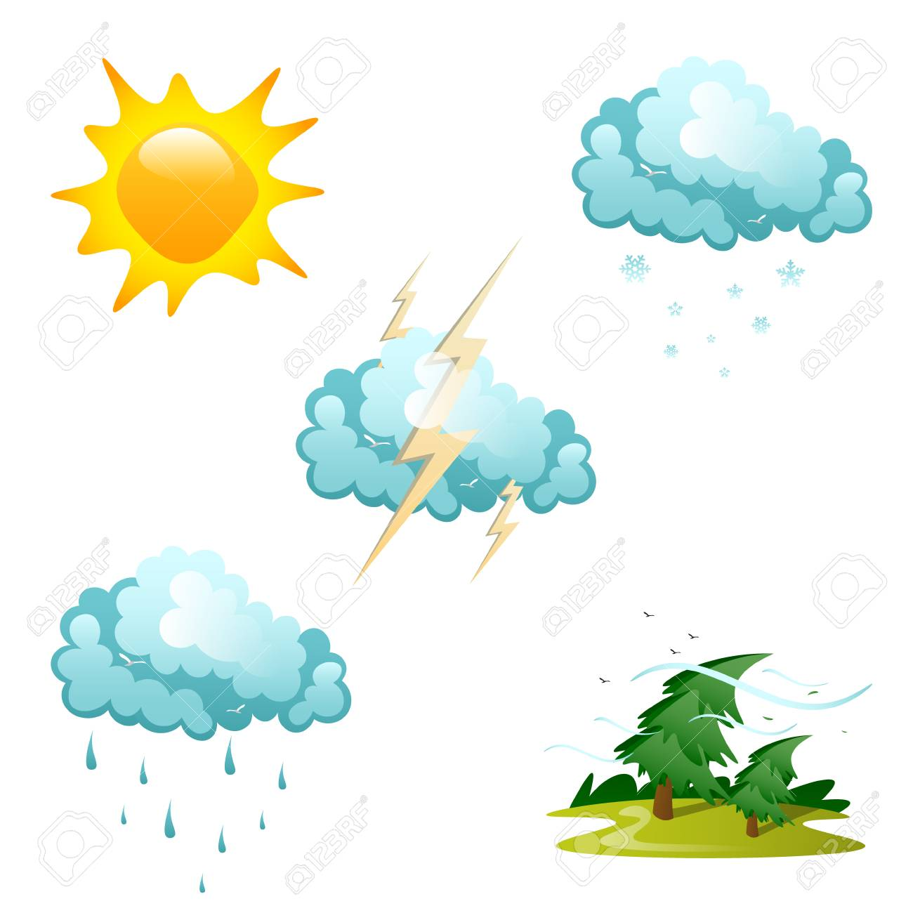 Set of different weather icons vector illustration. - 90317269