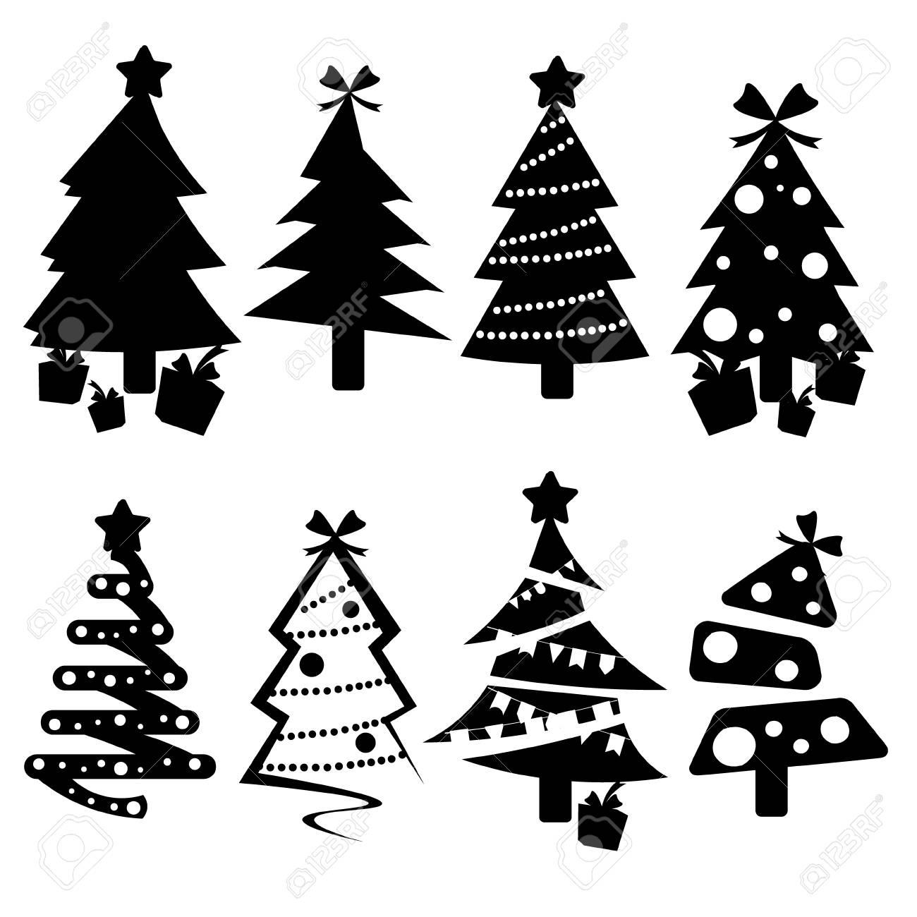 Albero Di Natale Nero.Immagini Stock Set Di Icone Di Alberi Di Natale Nero Image 90588715