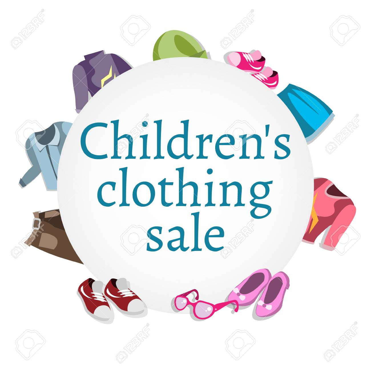 939fcf2a5 Super sale kids clothing and accessories, vector illustration.