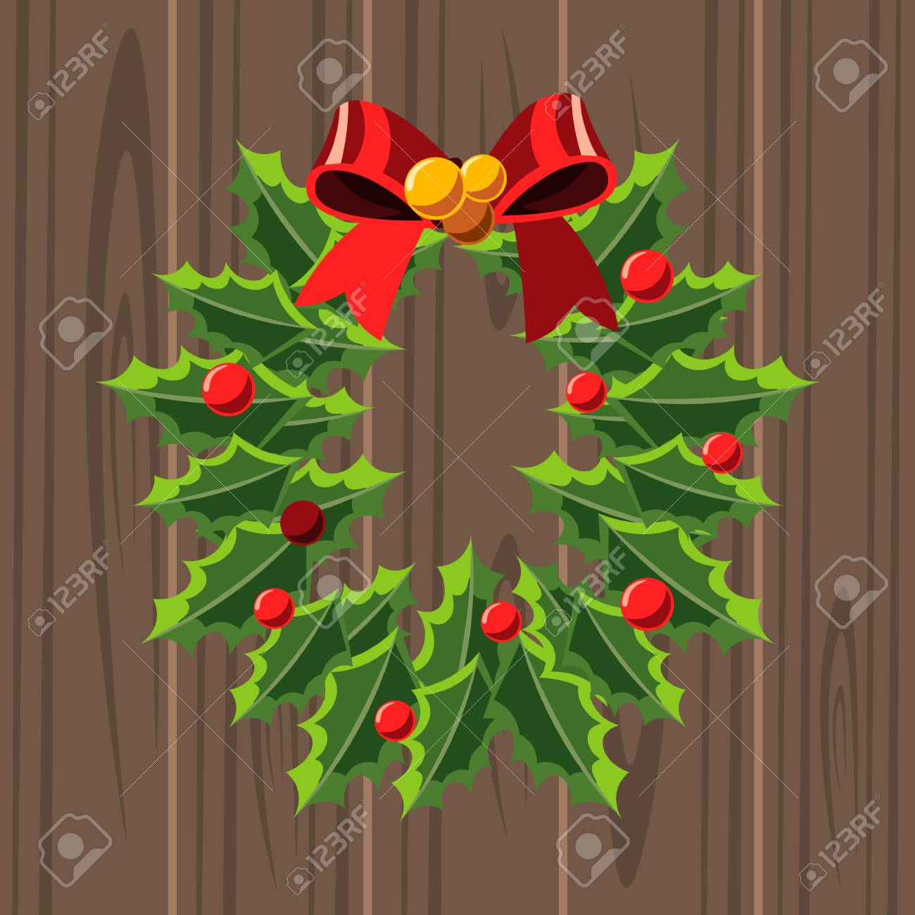 christmas wreath template on wooden background royalty free cliparts