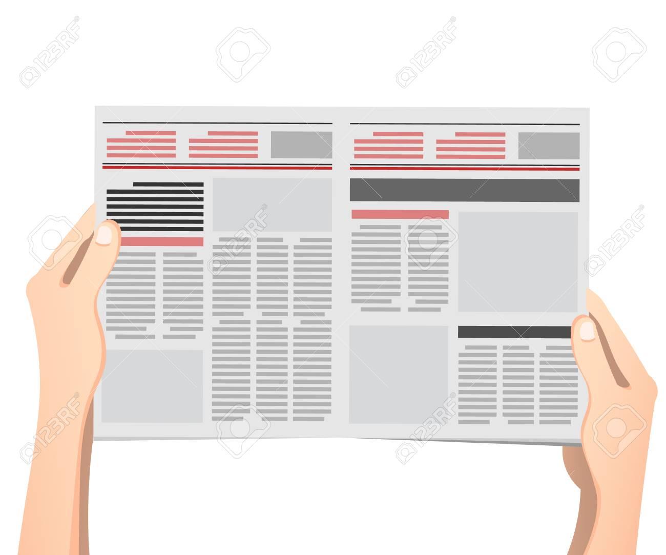 Business man hands holding newspaper vector illustration in flat design. - 92942638