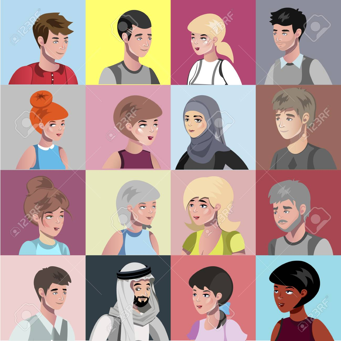 Portraits of people of different nationalities vector illustration - 93136656